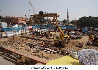 JAIPUR, INDIA - OCT 8, 2017 - Construction of the Jaipur metro subway,  Jaipur, Rajasthan, India
