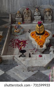 JAIPUR, INDIA - OCT 8, 2017 - Shiva lingam outside Govind Devji Temple,  Jaipur, Rajasthan, India