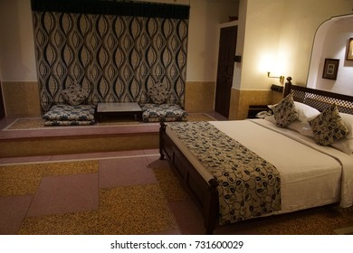 JAIPUR, INDIA - OCT 8, 2017 - Bedroom of converted haveli hotel in  Jaipur, Rajasthan, India