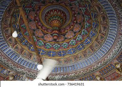 JAIPUR, INDIA - OCT 8, 2017 - Domed ceiling of Shree Laxmi Narihan Ji Hindu Temple Jaipur, Rajasthan, India