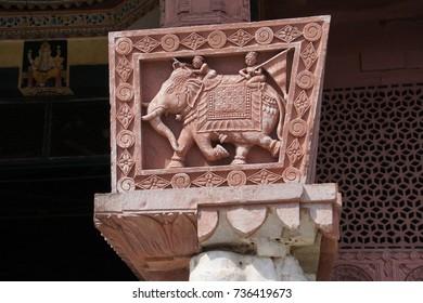 JAIPUR, INDIA - OCT 8, 2017 - Elephant sculpture on column of Shree Laxmi Narihan Ji Hindu Temple Jaipur, Rajasthan, India