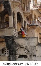 JAIPUR, INDIA - OCT 8, 2017 -  Shri Gayan Jopal Ji temple in the Galtaji temple complex, Jaipur, Rajasthan, India