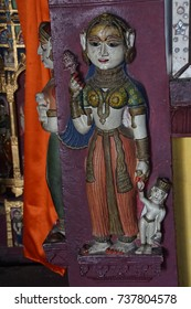 JAIPUR, INDIA - OCT 8, 2017 - Apsara dancer with musical instrument, Shree Laxmi Narihan Ji Hindu Temple Jaipur, Rajasthan, India