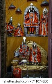 JAIPUR, INDIA - OCT 8, 2017 - Vishnu statue in inner sanctum of Shree Laxmi Narihan Ji Hindu Temple Jaipur, Rajasthan, India