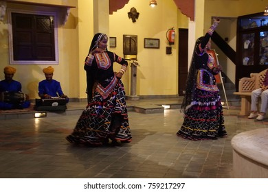JAIPUR, INDIA - OCT 8, 2017 - Rajasthani dancer in traditional costume,  Jaipur, Rajasthan, India