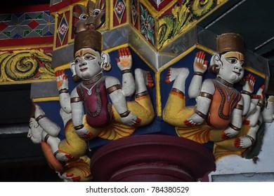 JAIPUR, INDIA - OCT 8, 2017 - Guardian spirit protecting entrance of Shiva temple Jaipur, Rajasthan, India