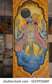 JAIPUR, INDIA - OCT 9, 2017 - Varaha Vishnu avatar as boar, Khole Ke Hanuman Ji Temple,  Jaipur, Rajasthan, India