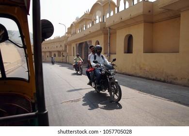 JAIPUR, INDIA - OCT 9, 2017 - Motorcycles on the street outside  Jaipur, Rajasthan, India