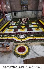 JAIPUR, INDIA - OCT 9, 2017 - Altar and shrine of the Khole Ke Hanuman Ji Temple,  Jaipur, Rajasthan, India