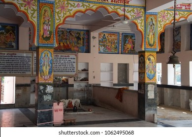 JAIPUR, INDIA - OCT 9, 2017 - Altar and shrine of the Khole Ke Hanuman Ji Temple,  Jaipur, Rajasthan, India