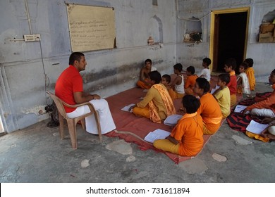 JAIPUR, INDIA - OCT 9, 2017 - Hindu students in the Shri Gayan Jopal Ji temple,  Jaipur, Rajasthan, India