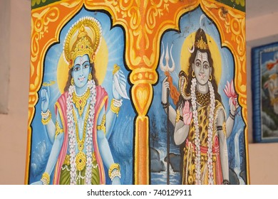 JAIPUR, INDIA - OCT 9, 2017 - Paintings of Vishnu's avatar as Krishna and Ram, Khole Ke Hanuman Ji Temple,  Jaipur, Rajasthan, India