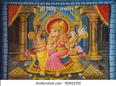 JAIPUR, INDIA - OCT 9, 2017 - Painting of Ganesh in Khole Ke Hanuman Ji Temple,  Jaipur, Rajasthan, India