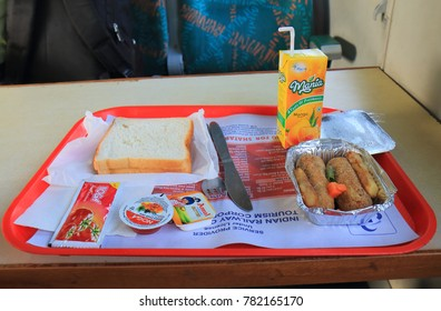 JAIPUR INDIA - OCTOBER 22, 2017: Breakfast served on 1st class train in India.