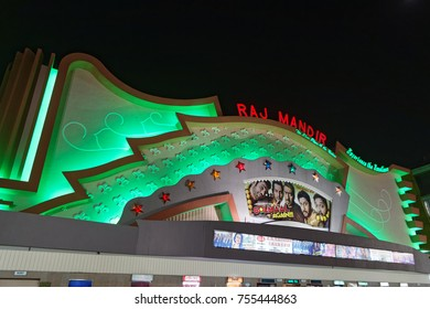 JAIPUR, INDIA, October 27, 2017 : Raj Mandir Cinema is a famous movie theatre in Jaipur. The meringue-shaped auditorium opened in 1976, and over the years has become a popular symbol of Jaipur