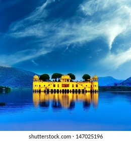 Jaipur India Rajasthan beautiful lake and castle palace Jal Mahal