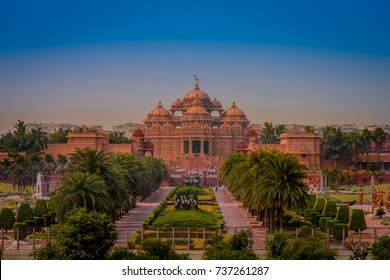 Jaipur, India - September 19, 2017: Akshardham Temple in New Delhi, India. Akshardham or Swaminarayan Akshardham complex is a Hindu mandir and a spiritual-cultural campus in India