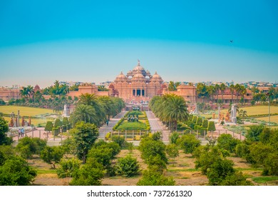 Jaipur, India - September 19, 2017: Beautiful landscape of Akshardham Temple in New Delhi, India. Akshardham or Swaminarayan Akshardham complex is a Hindu mandir and a spiritual-cultural campus in