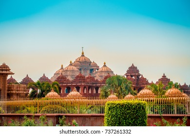 Jaipur, India - September 19, 2017: Beautiful view of Akshardham Temple in New Delhi, India. Akshardham complex is a Hindu mandir and a spiritual-cultural campus in India