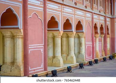 Jaipur, India - September 19, 2017: Chandra Mahal museum, City Palace at Pink City, Jaipur, Rajasthan, India