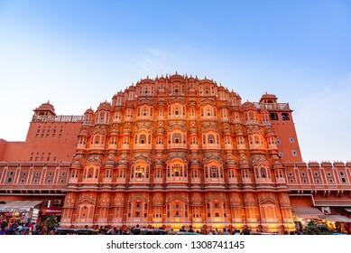 Jaipur, India-December,2018: Hawa Mahal 'Palace of Winds' is a palace in Jaipur,Rajasthan. Its architectural heritage is a true reflection of fusion of Hindu Rajput & Islamic Mughal architecture.