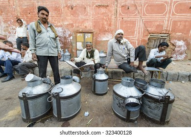 Jaipur, India-September 09, 2015:Daily traditional milk market at the street of Jaipur, India. Cow milk is drinks a day in India.