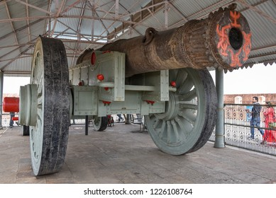 Jaipur, Rajasthan - April-03-2016. Jaivana canon in jaigrah fort in jaipur, Rajasthan. World largest canon on wheels