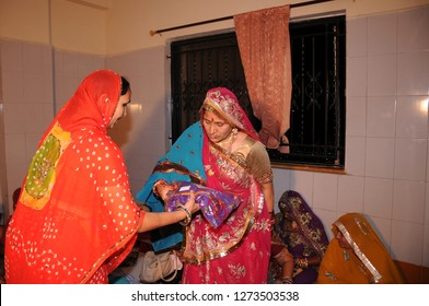 JAIPUR, RAJASTHAN, INDIA 4 DECEMBER 2017 : Unidentified Indian people doing Wedding Rituals at the groom's house. Traditional Indian wedding ceremony in Rajasthan