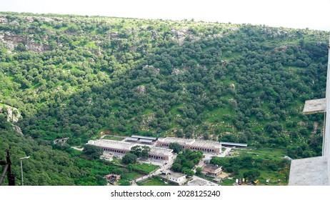 Jaipur, Rajasthan India August 14 2021: aerial view from Mountains of veer hanuman ji temple at samod near chomu