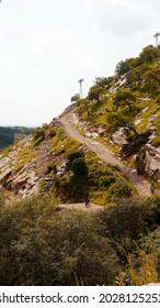 Jaipur, Rajasthan India August 14 2021: Mountains and hill way towards veer hanuman ji temple at samod near chomu