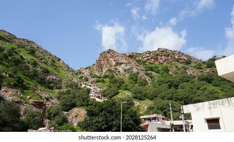 Jaipur, Rajasthan India August 14 2021: Mountains and stairs way at veer hanuman ji temple at samod near chomu