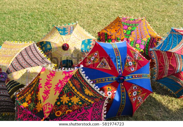Jaipur, Rajasthan, India - Circa October 2010 - A shot of colourful umbrellas for sale just outside of Amber Fort
