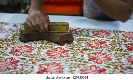 JAIPUR, Rajasthan, India DEC, 2016: Block Printing for Textile in India. Block Printing Traditional Process on Dec 2016, JAIPUR, India. Jaipur - center of Traditional Handicrafts of India