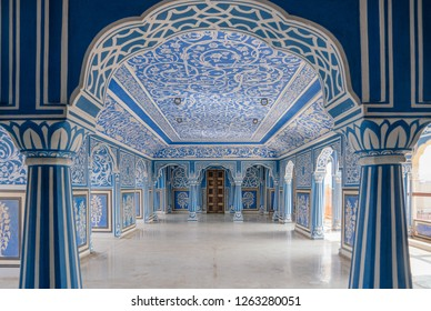 JAIPUR, RAJASTHAN, INDIA - DEC 6, 2018: Interior paintings of Sukh Niwas inside of City Palace, Jaipur, The capital of the Rajasthan state, India