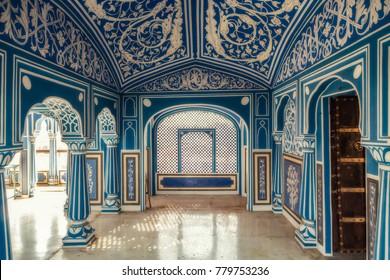 Jaipur, Rajasthan, India, December 11, 2017: Royal City Palace Jaipur interior artwork with decorative wall art paintings.