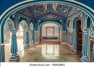 Jaipur, Rajasthan, India, December 11, 2017: City Palace Jaipur with interior artwork and decorative wall art paintings.
