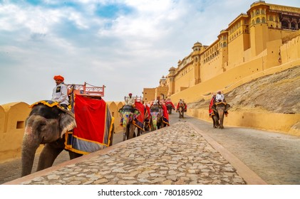 Jaipur, Rajasthan, India, December 11,2017: Decorated elephants at Amer Fort Jaipur for tourists ride.
