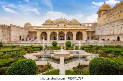 Jaipur, Rajasthan, India, December 12,2017: View of Amber Fort Jaipur Rajasthan royal palace and Sheesh Mahal made of white marble with intricate glass artwork.