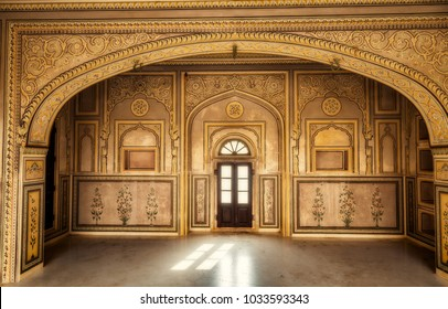 Jaipur, Rajasthan, India, December 14,2017: Nahargarh Fort Jaipur interior architecture with intricate wall artwork and carvings