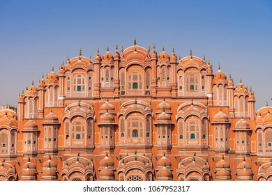 JAIPUR, RAJASTHAN, INDIA- FEB 22, 2018: Close up of top stories of Hawa Mahal palace (Palace of the Winds).