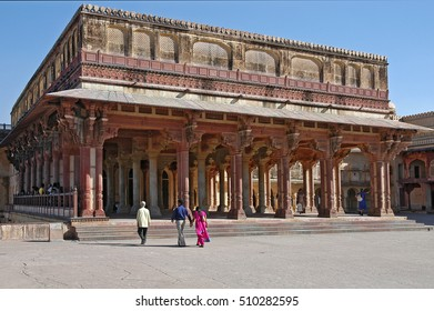 JAIPUR, RAJASTHAN, INDIA - FEBRUARY 26, 2006: Native people, visiting the courtyards and outbuildings Amber fort