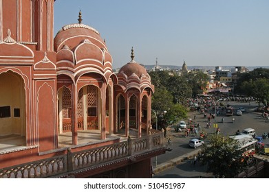 JAIPUR, RAJASTHAN, INDIA - FEBRUARY 26, 2006: View of the streets and traffic of the city, from the Hawa Mahal
