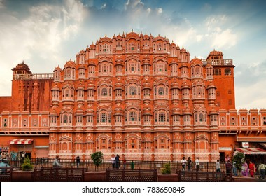 Jaipur, Rajasthan, India - March 24, 2014 : Facade of Hawa Mahal, The Palace of Winds in Jaipur