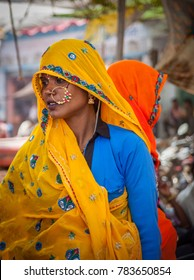 Jaipur, Rajasthan, India - March 24, 2014 : Portrait of an unidentified Indian nomadic woman.