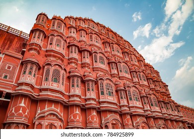 Jaipur, Rajasthan, India - March 24, 2014 : Facade of Hawa Mahal, The Palace of Winds in Jaipur.