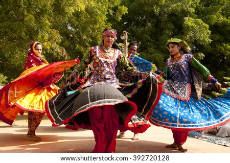 5946772619f0 JAIPUR, RAJASTHAN, INDIA- NOV 29 : Unidentified female kalbelia dancers  perform the Kalbelia