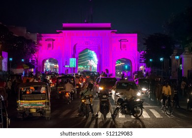 Jaipur, Rajasthan, India - October 28, 2016:  Main gates to pink city night view, documentary editorial.