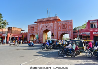 Jaipur, Rajasthan, march 12,2017: Jaipur city market area with pink colored buildings, city road traffic and view of two wheeler stand.