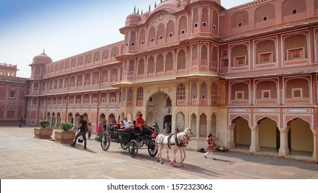 Jaipur,India - Circa November: 2019.Chariot for tourists in the City Palace Jaipur. The palace complex located in the center of Jaipur city.