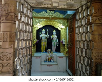 Jaipur/India-August 23, 2019: Statues of Lord Rama, Sita, Hanuman, Lakshmi and Lord Vishnu in the compound of Akshardham Temple.